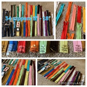 "34 new zippers 5"" - 18"" for sewing or crafts"